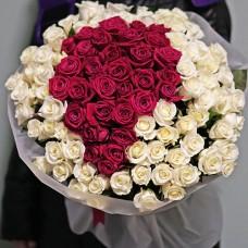 101 троянда червона і біла висотою 70 см
